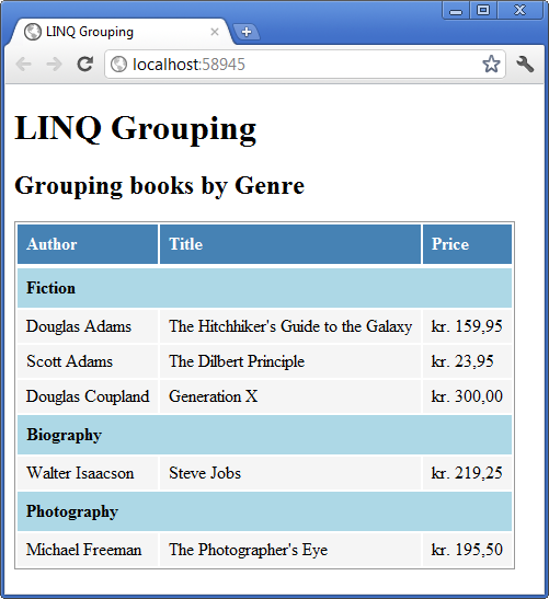 Grouping data with LINQ and MVC | Ole Michelsen